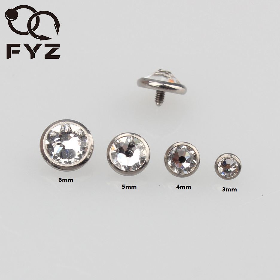 48 pcs 24 Dermal Anchor Tops 4mm Flat Clear Cubic Zirconia and 24 Dermal Bases