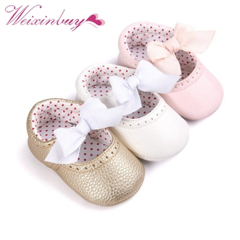 2019 Newborn Baby Moccasin Shoes Soft Bottom PU Leather Toddler First Walkers