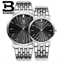 Ginebra amantes de los relojes de primeras marcas de lujo binger 3bar impermeable correa de acero inoxidable de negocios relojes de moda hombres mujeres reloj de pulsera