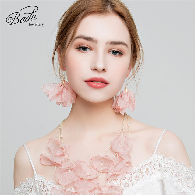 Badu Tulle Cloth Flower Earrings Round Circle Red pink color Bohemian Drop Earring for Holiday Party.jpg 640x640 - Badu Tulle Cloth Flower Earrings Round Circle Red pink color Bohemian Drop Earring for Holiday Party Jewelry Gift for Women