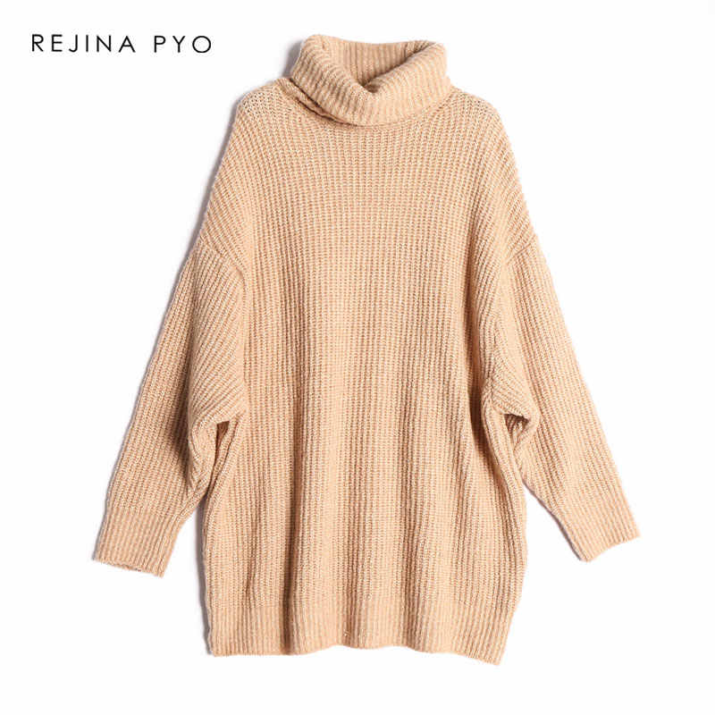 REJINAPYO 10 Color Women Fashion Solid Casual Knitted Sweater Female Turtleneck Oversized Pullover Ladies Elegant Loose Sweater
