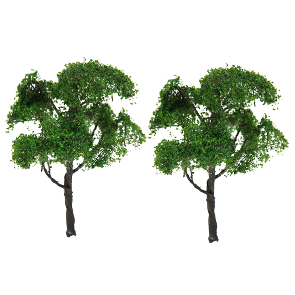 2x Painted Elm Model Tree 12cm/4.72inch 1:75 HO For Diorama Landscape Build