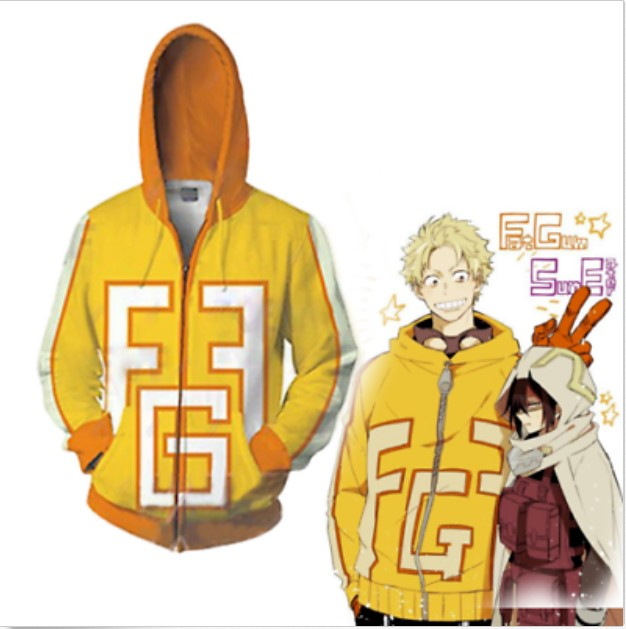 Boku No Hero Academia  Anime 3D Cosplay Sweatshirts Zip Hoodie Casual Hooded