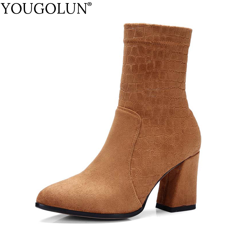 YOUGOLUN Women Ankle Boots 2017 New Autumn Stretch Cloth Thick Heel 8 cm High Heels Gray Black Yellow Pointed toe Shoes #Y-195