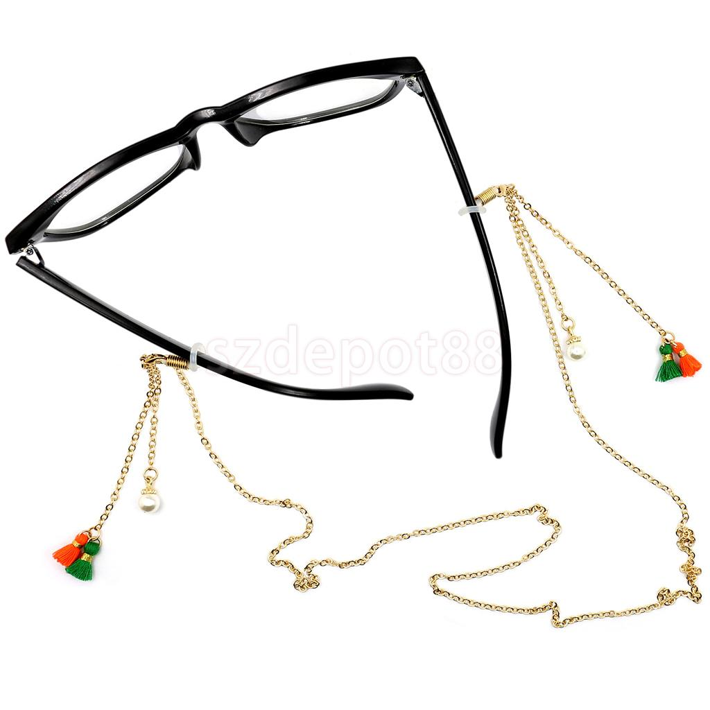 Women Long Beautiful Eyeglasses Spectacles Glasses Sunglasses Holder Necklace Chain Pearl Neck Lanyard Cord Strap Gold