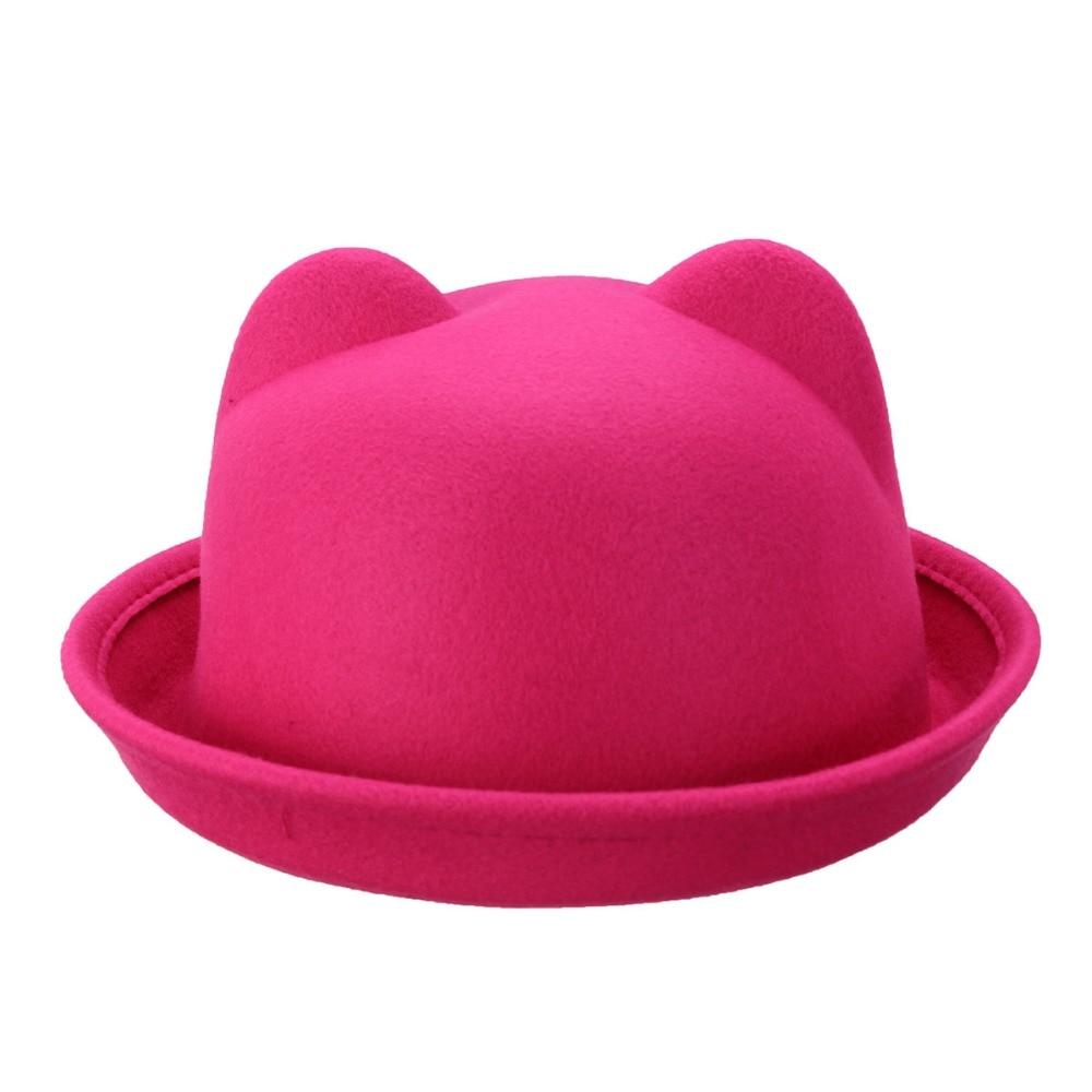 Ragazze Bambini Fedora Cappello Primavera Bowler Cappello Rotolo Brim Dome  Top cappello Devil Horns Cat Ear 6481b7b6c3e8