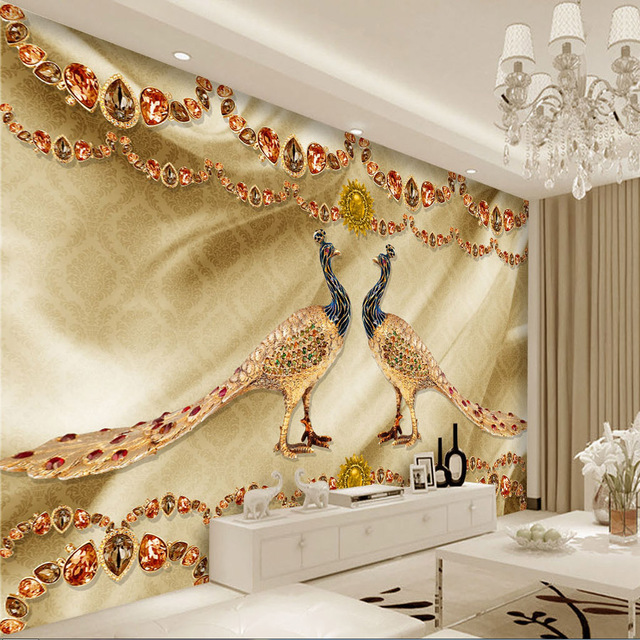Golden Peacock Schmuck Tapete Luxus Wand Mural Benutzerdefinierte