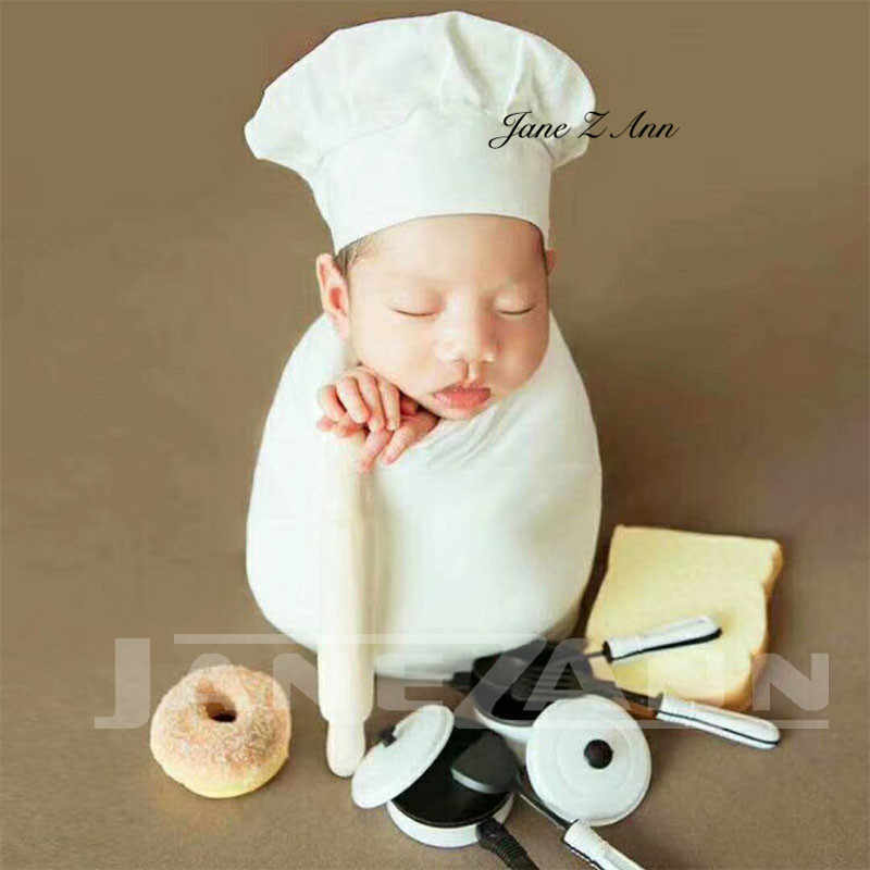 a58b7fda870 ... Jane Z Ann Baby Photography Props Little Chef Hat White Stretch Wrap  Little Cook creative props ...