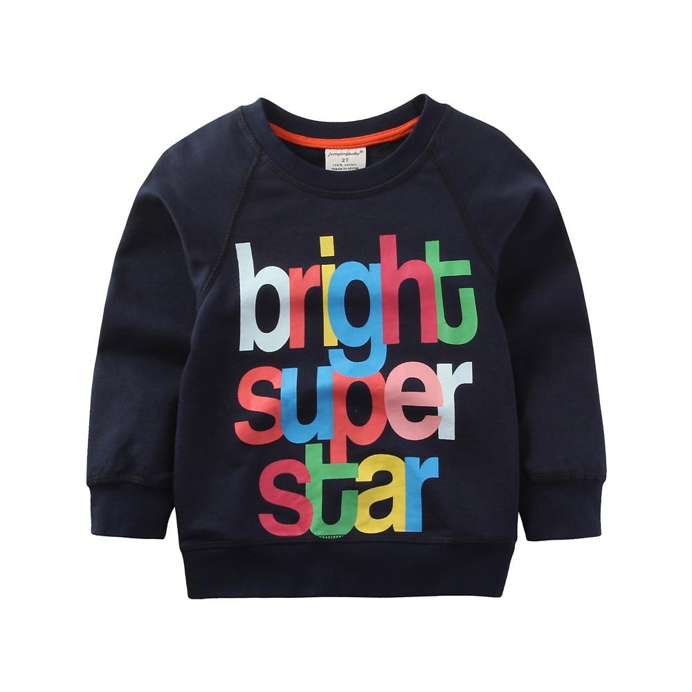 Letter Printing Children Boys Autumn Cotton T-shirt Clothing For 2018 New Jumpingbaby Brand Kids Teenage Full Sleeve Sweatshirt