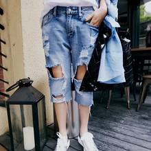 Корейский низкой талией прямо женский пятый отверстие — цветные джинсы женщин мода лето