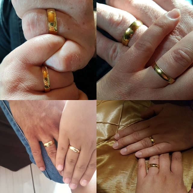 Letdiffery Smooth Stainless Steel Couple Rings Gold Simple 4MM Women Men Lovers Wedding Jewelry Engagement Gifts 4