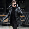 FREE SHIPPING 2017 New Men Long Black Genuine hood Leather Down Coat Real Sheepskin Fashion Slim Fit Men Winter Keep Warm Coat