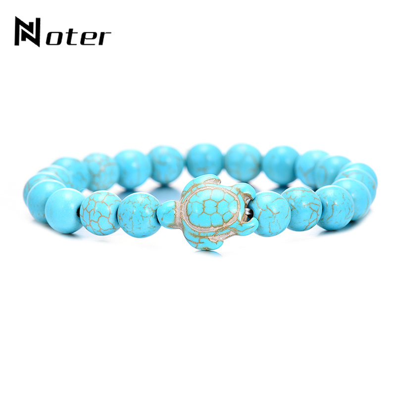 Noter Natural Stone Beads Turtle Bracelet Cute Cuckold Design Lava Stone Braslet For Women Mens Summer Hand Jewelry Accessories