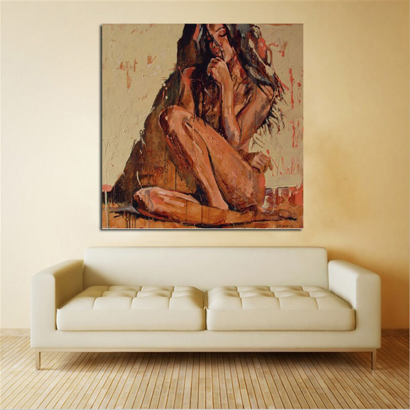 Hand Painted Abstract Portrait Oil Painting On Canvas sexy nude girl No stretch And No Framed Home Decoration in Painting Calligraphy from Home Garden