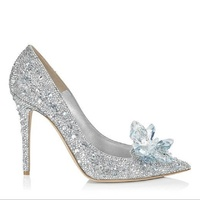 New Cinderella Crystal Shoes Silver Rhinestone Wedding Shoes Bridal Pointed High Heels Stiletto Wedding Shoes Single Shoes.