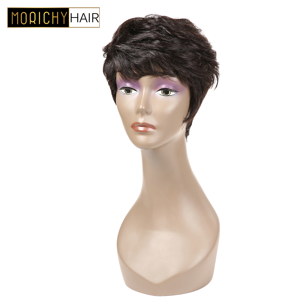 Morichy Short Human Hair Wigs For Black Women Natural Color Brazilian Straight Human Hair Pixie Cut Wigs Remy Hair 150% Density