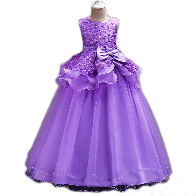 Big Girl Princess Bow Long Dress 2018 Kids Girls Appliques Party Dress Elegant Pageant Formal Gown Children Clothes High Quality girl party dress 2018 girls dress formal