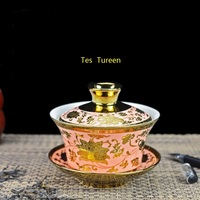 230ml Jingdezhen Gaiwan Ceramic Porcelain Tea Bowl with Lid Saucer Kit / Office Tea Ceremony Drinkare Decoration Gold Tureen C12