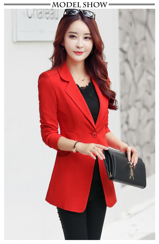 Long Red Blazer Women Slim Fit Spring Jacket Suit Casual Blazers ... 6362c26ec5f4
