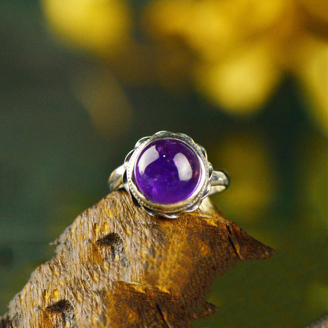 Natural rock Purple crystal Ring 925 Sterling Silver anillos Stone S925 Thai Silver Rings for Women Jewelry