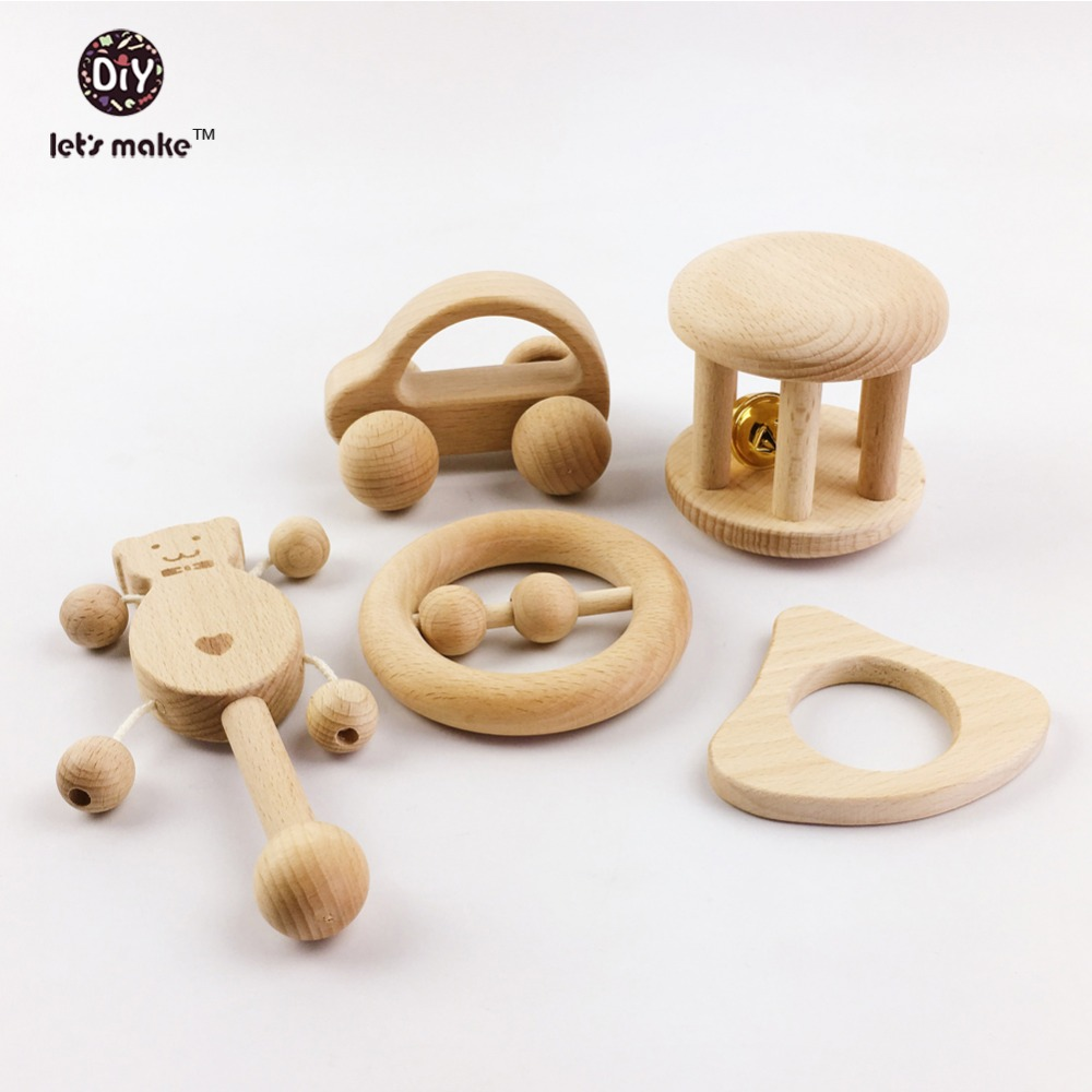 Let's make Puzzle Toys intellectual of children Montessori Toys set Nursing Wooden Wooden Rattles Baby fun and interesting toys