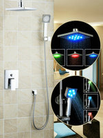 Ouboni Shower Set Torneira LED Light 8 Inch Shower Head Bathroom Rainfall 57709A Bath Tub Chrome