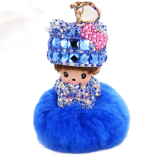 Monchichi Key Chain Inlaid Rhinestone Cute Doll Pendant Fur Ball Key Chain Women Leather Metal Keychains Bag Keyring RUIER068