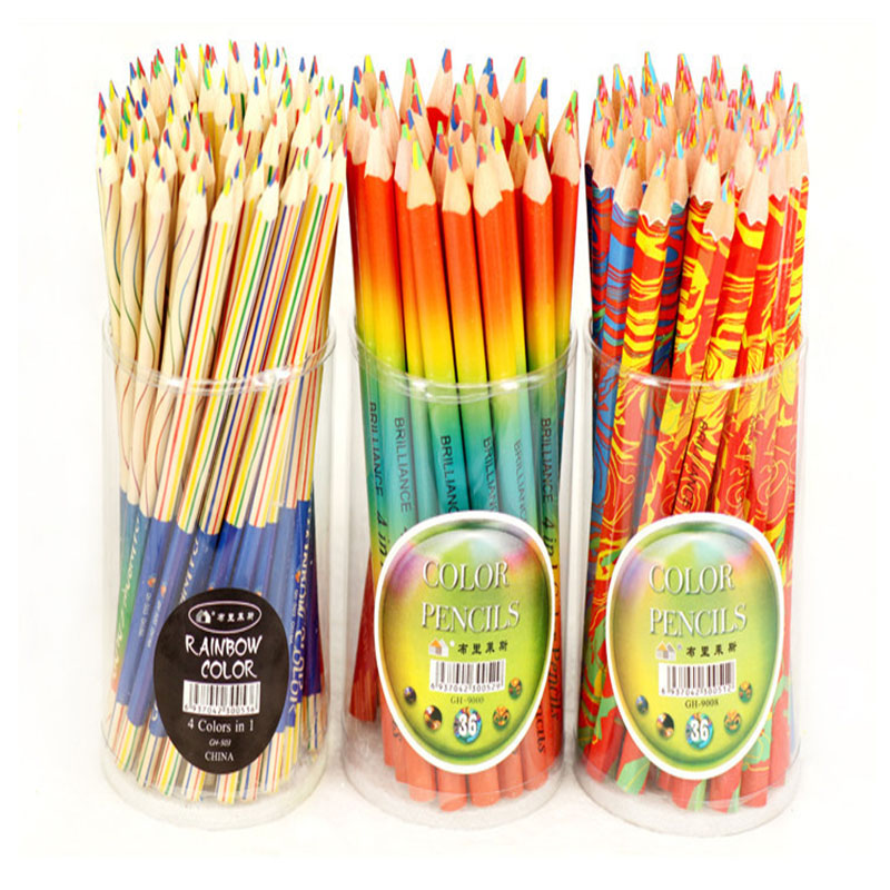 5-10pcs Cute Rainbow Pencil Creative 4 Color In 1 Pencil Triangle Wooden Color Pencil Painting Pen School Office Stationery Gift