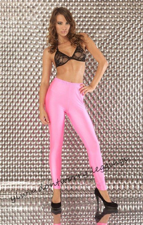 Stylish Skinny Pop Girls Neon Pink Leggings Sexy Elastic -3860