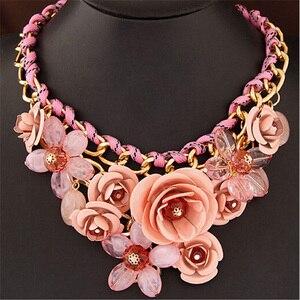 Женское винтажное ожерелье-чокер Tenande, большая эмалированная металлическая оплетка в виде цветов