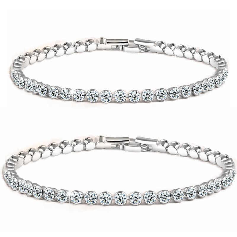 Luksusowe 4mm cyrkonia bransoletki tenisowe Iced Out Chain kryształ bransoletka ślubna dla kobiet złoto srebro bransoletka biżuteria