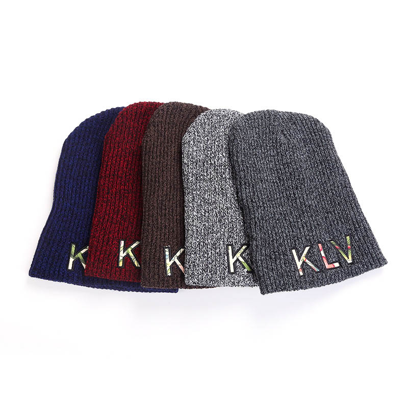 Embroidered Striped Hedging Cap Slouchy Thick Knitted Beanie Hat for Autumn Winter FS99