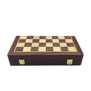 Image 5 - Easytoday jeu déchecs professionnel, pièces brillantes, en métal doré et argenté, échiquier pliant en bois massif de haute qualité