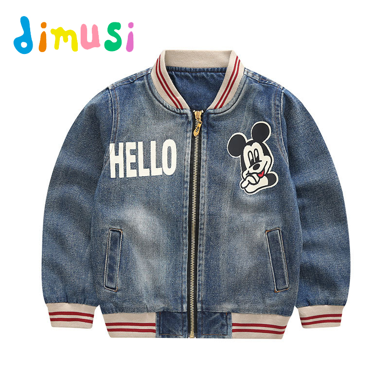 DIMUSI New Childrens Denim jacket boys Autumn Cartoon Pringting Coat windbreak outwear children bomber jacket kid clothes BC043