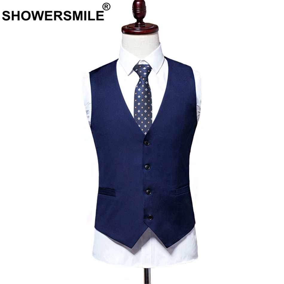 3c9df7de0b0 SHOWERSMILE Blue Suit Vest Men Waistcoat 6xl Autumn Plus Size Formal Sleeveless  Jacket Polyester Solid Dress Gilet Male Clothing