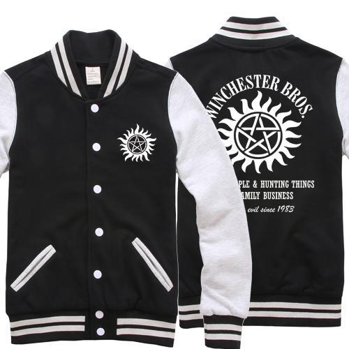 High-Q Unisex Supernatural SAM&DEAN pullover baseball uniform jacket Supernatural Winchester baseball uniform Hoodies