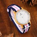 Uwood Women Original Bamboo Wood Watch Nylon Band Fashion Wooden Watch With Multi-Color Striped Band