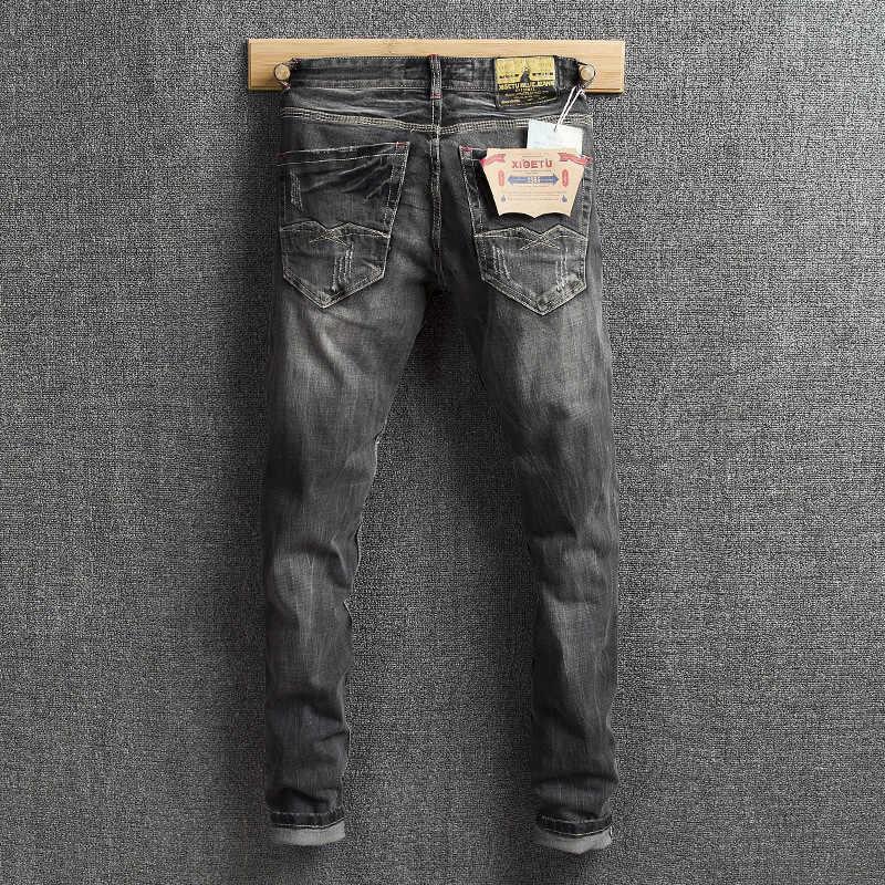 Vaqueros clásicos de moda para hombre, de Color negro gris, ajustados, pantalones de mezclilla desgastados, pantalones vaqueros rasgados de marca de diseñador, Vaqueros Vintage, Homme