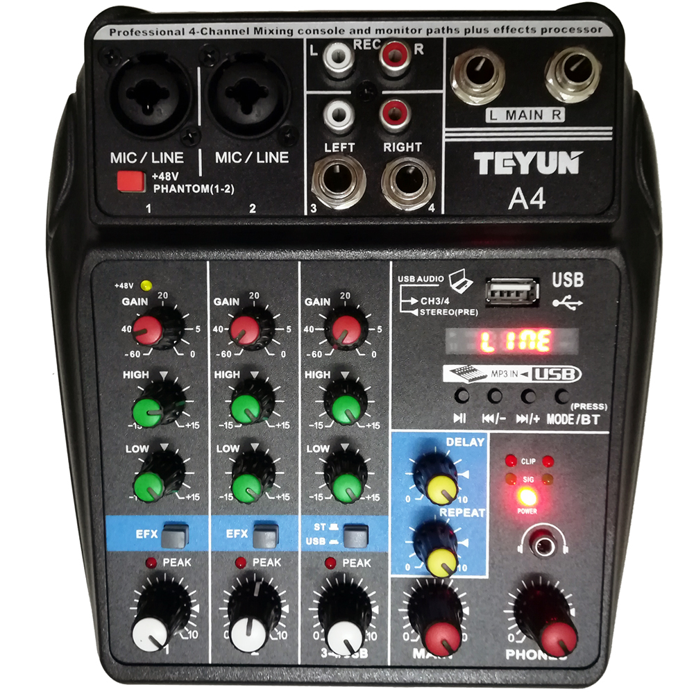 A4 Multi-purpose Audio Mixer with Bluetooth Record 4 Channels Input Mic Line Insert USB Playback Sound Card Small Mixing Console цена и фото