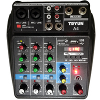 A4 Multi purpose Audio Mixer with Bluetooth Record 4 Channels Input Mic Line Insert USB Playback Sound Card Small Mixing Console