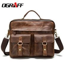 hot deal buy ograff genuine leather bag designer handbags high quality cowhide tote briefcases brand business crossbody bag men messenger bag