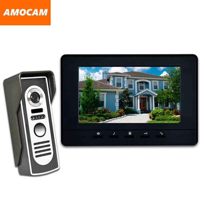 7 Inch LCD Monitor Door wired video intercom Doorbell system Video Door Phone night vision Aluminium alloy Camera Video Intercom 7 inch color tft lcd wired video door phone home doorbell intercom camera system with 1 camera 1 monitor support night vision
