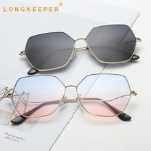 LongKeeper Irregular Cat eye Sunglasses Women Metal Gradient Sun Glasses Ladies Trend Eyewear UV400 Shades