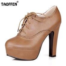Taoffen/Женские туфли на высокой шпильке пикантные женские на платформе весенние туфли Туфли-лодочки с каблуком обувь на каблуке плюс большие размеры 34-47 P16740