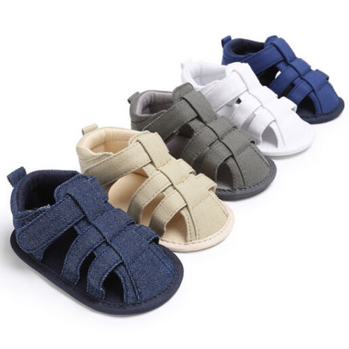 2018 New Fashion Toddler Kids Baby Boys Canvas Soft Sole Crib Sneakers Newborn Sandals Shoes Solid 5 Colors Summer Style