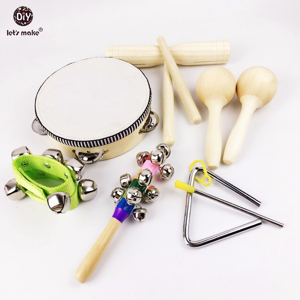Let's Make 9pcs Baby Montessori Toys Wooden Drum Rattles Bell Children Toys Gift Toys 50pcs hot sale wooden intelligence stick education wooden toys building blocks montessori mathematical gift baby toys