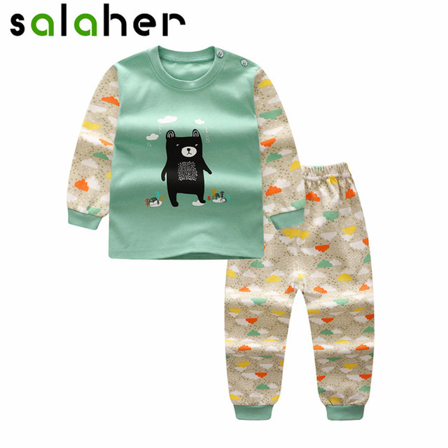 a63a248b7f253 salaher Newborn Baby Clothes Autumn Children baby boys girls clothes Sets  Cotton Cartoon Cute Infant Underwear Pajamas
