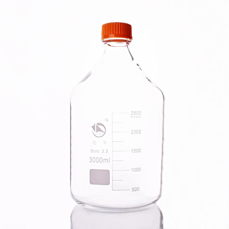 Reagent bottle,With yellow screw cover,Borosilicate glass 3.3,Capacity 3000ml,Graduation Sample Vials Plastic Lid