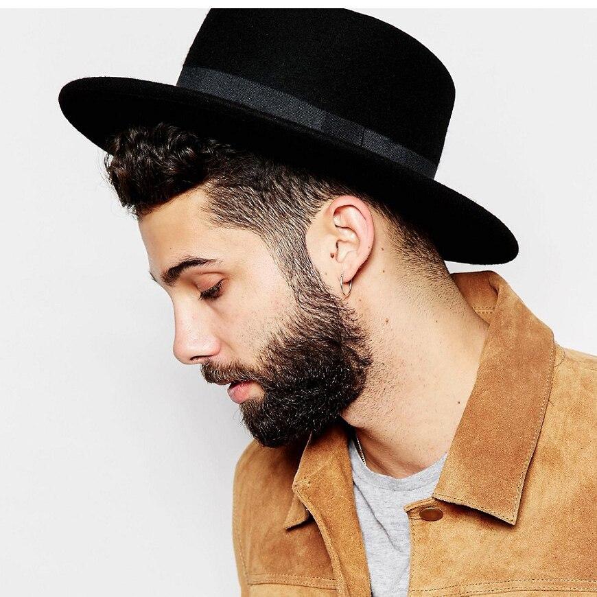 Brand Winter Auturmn Wool Boater Flat Prok Pie Fedora Top Hat For Women s  Men  Felt Bowkn Boho Feltro Gambler Sombrero Cap 15-in Fedoras from Apparel  ... afd6fde8cbe