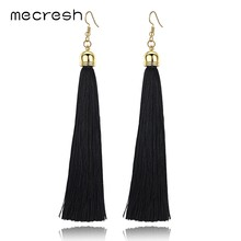 Mecresh 5 Colors Fiber Long Tassel Earrings Fashion Jewelry 2018 Bohemian Pendantes Femmes Ethniques Earrings for Women EH422(China)